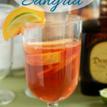 a pinterest image with a glass of mexican sangria with text overlay
