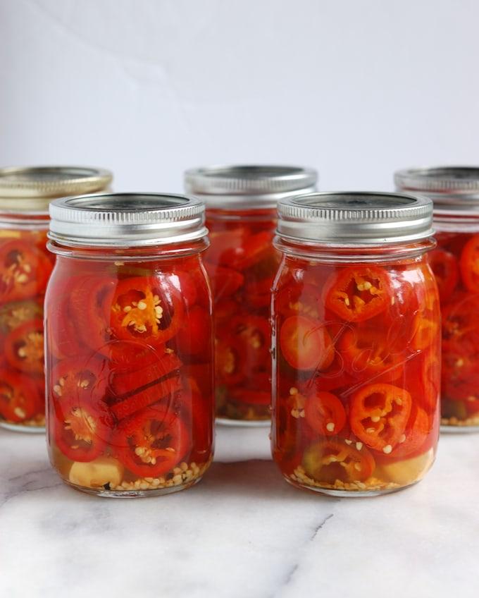 jars of pickled-jalapenos