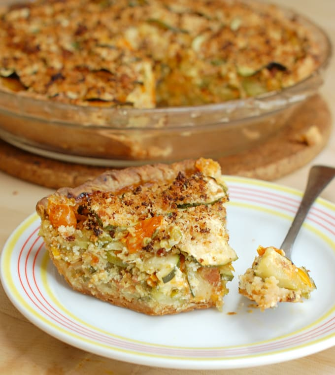 a slice of zucchini pie on a plate