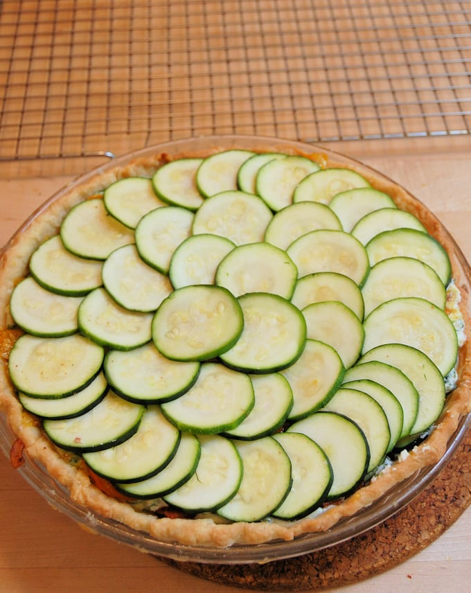 a zucchini pie ready for the oven
