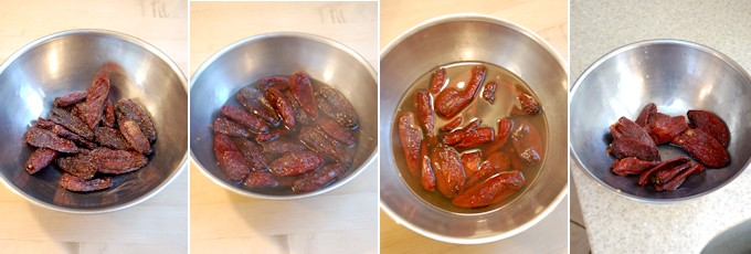 step by step photo of chipotles-in-adobo re-hydrating