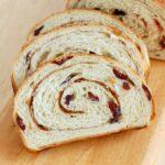 mashed potato craisin bread with a cinnamon swirl