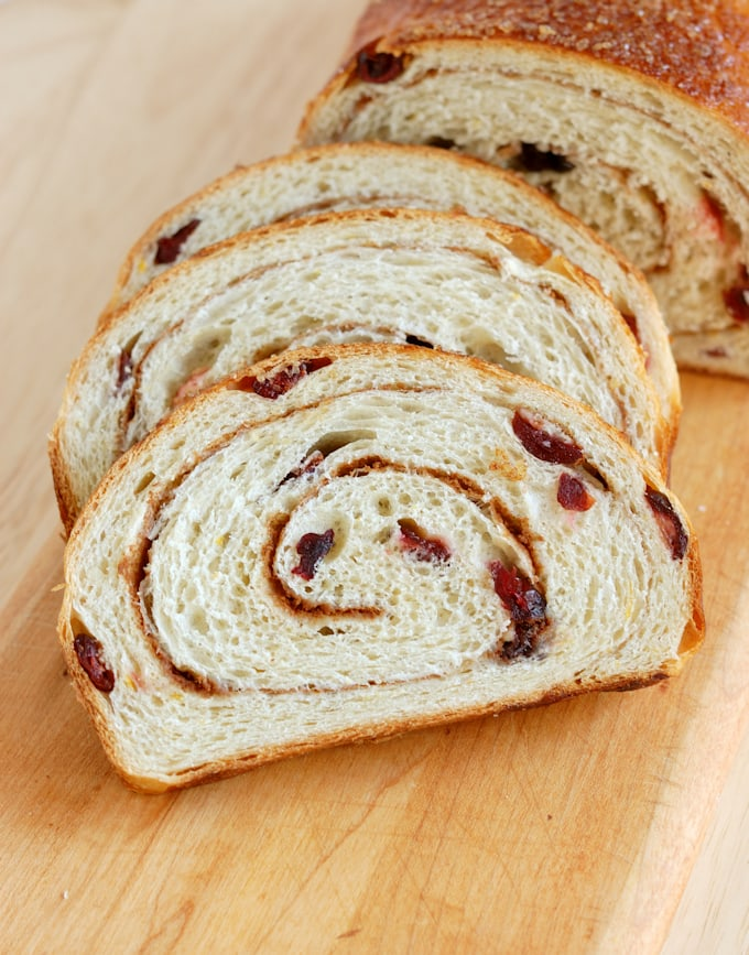 mashed potato craisin bread with a cinnamon swirl