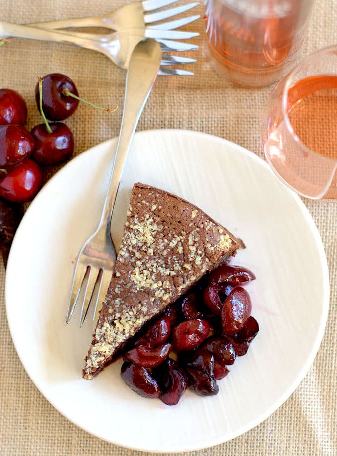 Warm flourless chocolate almond cake paired with Cabernet Ice Wine