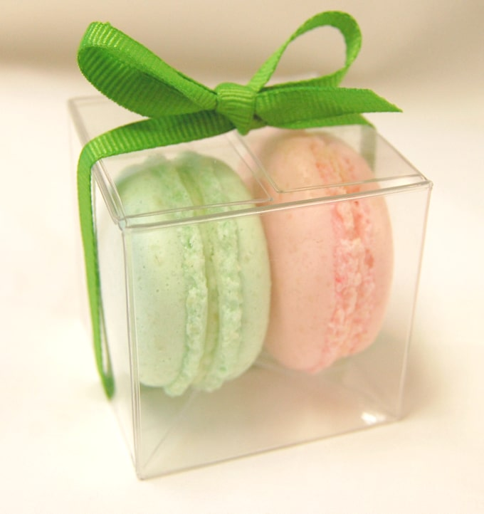 a clear box with 2 french macaron and a green ribbon