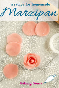 a pinterest image for a marzipan recipe with text overlay
