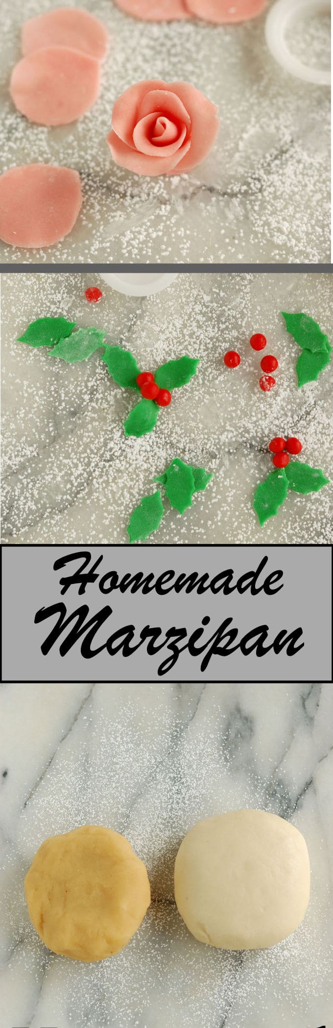Homemade marzipan is cheaper & tastier than store bought. Just 3 ingredients and 5 minutes to make.