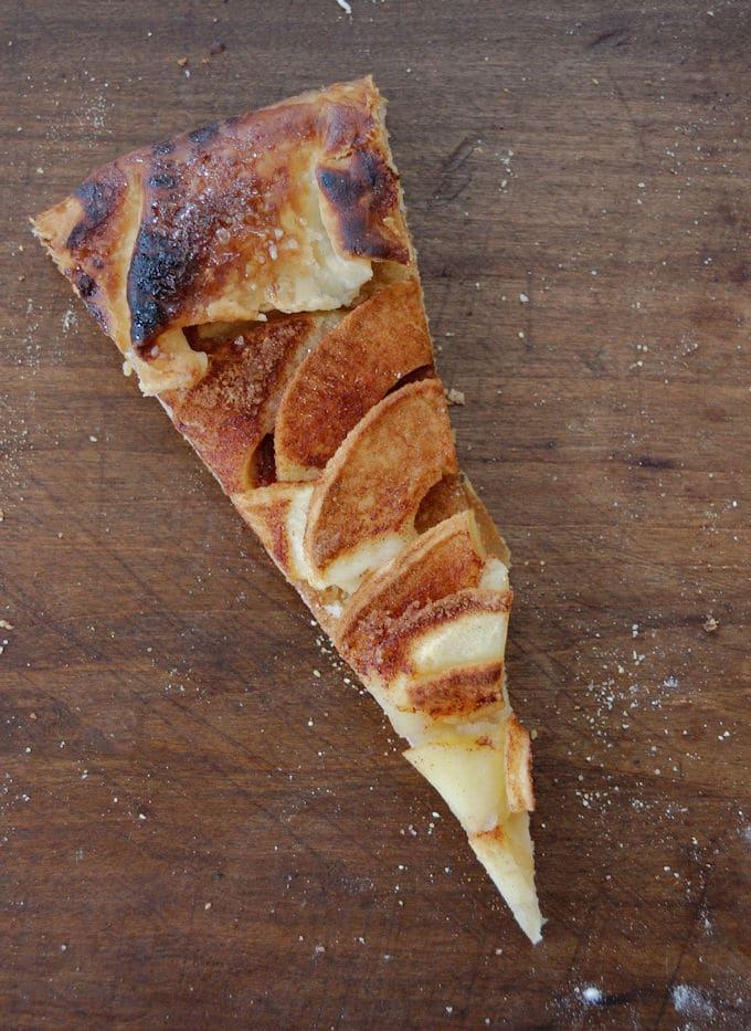 A slice of warm apple cinnamon galette