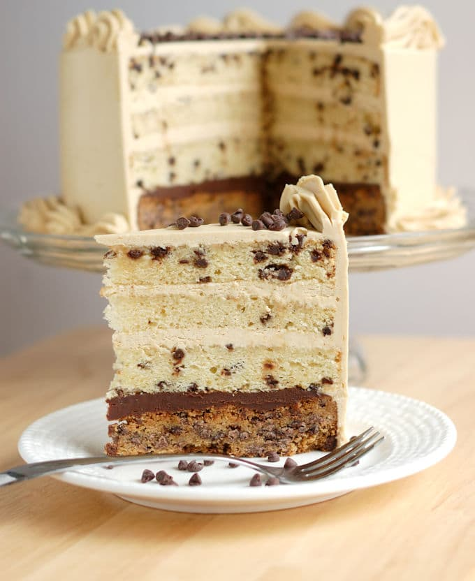 chocolate chip cookie cake with ganache and brown sugar buttercream