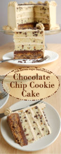 A chocolate chip cookie cake slice with text overlay