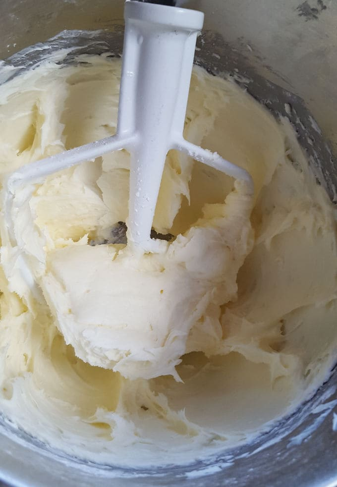 cream cheese icing in a mixing bowl