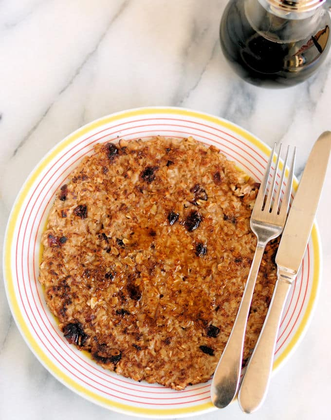 a Crispy Oatmeal Pancake with maple syrup