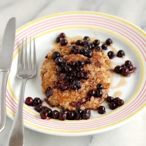 crispy oatmeal pancake with wild blueberries