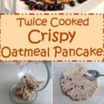 A simple bowl of oatmeal is transformed into a golden brown Crispy Oatmeal Pancake with no added sugar, eggs or flour.