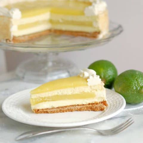 a slice of lime layered cheesecake