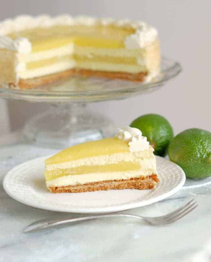 a slice of lime layered cheesecake on a white plate