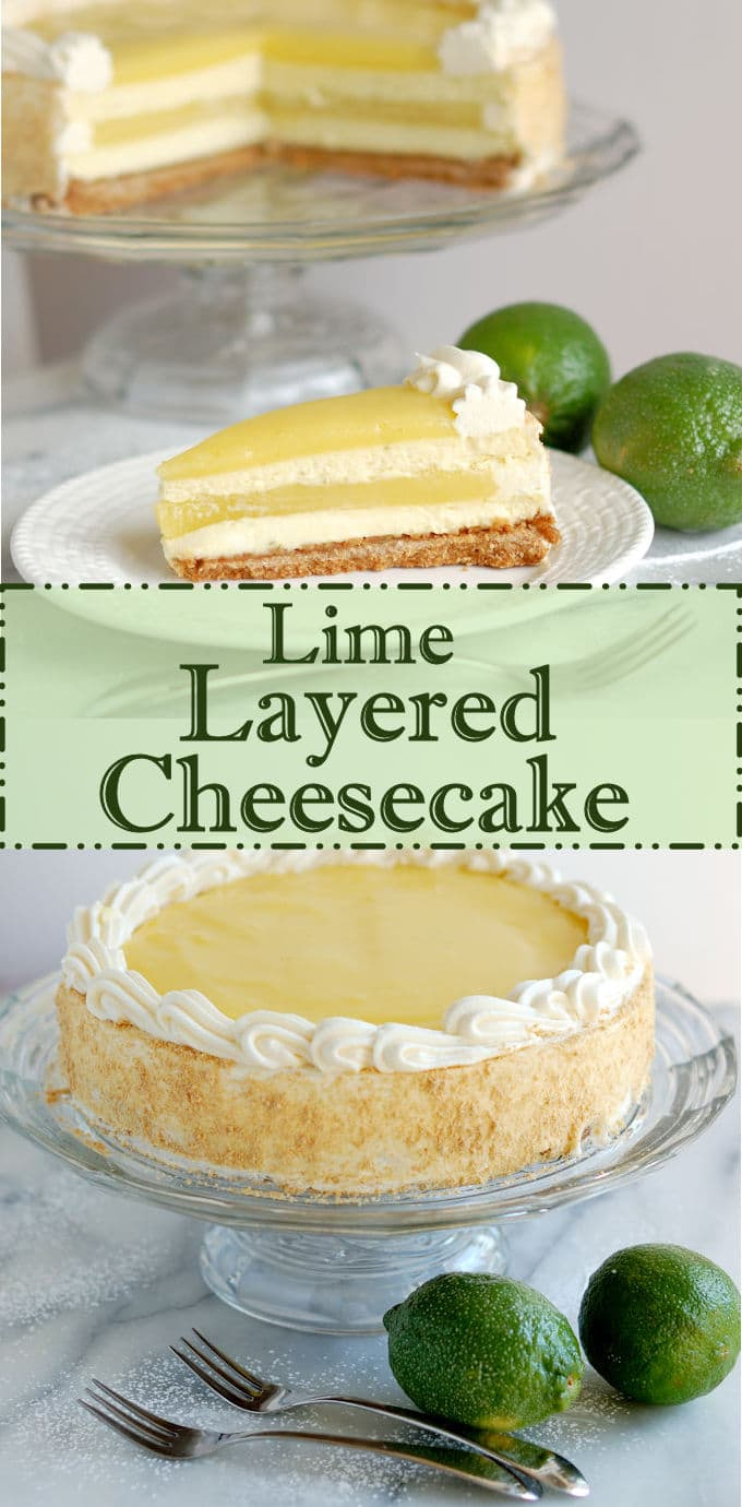 You can make a true layer cake using cheesecake layers instead of regular cake layers. Creamy cheesecake layered with tangy lime curd for a delicious dessert. It's surprisingly easy to make.