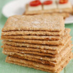 a pinterest image for oatmeal crispbread with text overlay