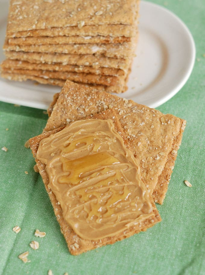 Oatmeal Crispbread (Knackebrod) topped with peanut butter and honey