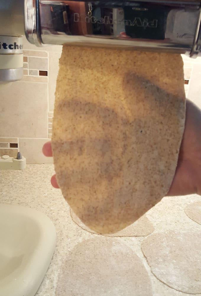 crispbread dough rolled in a pasta machine