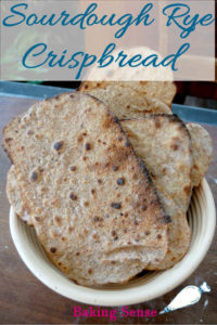 a pinterest image for sourdough rye crispbread