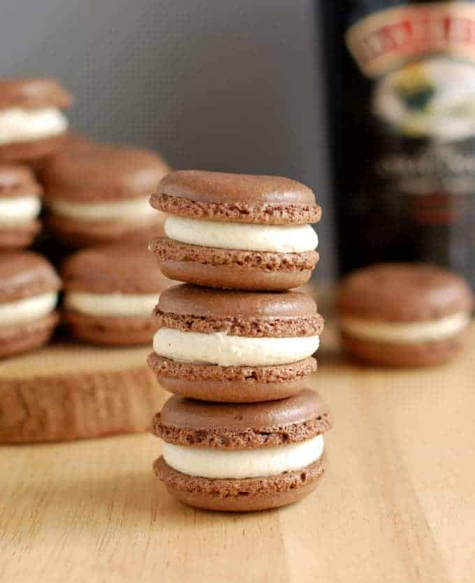 a stack of baileys chocolate macarons
