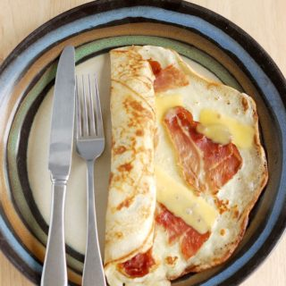 Savory Dutch Pancake with speck and gouda.