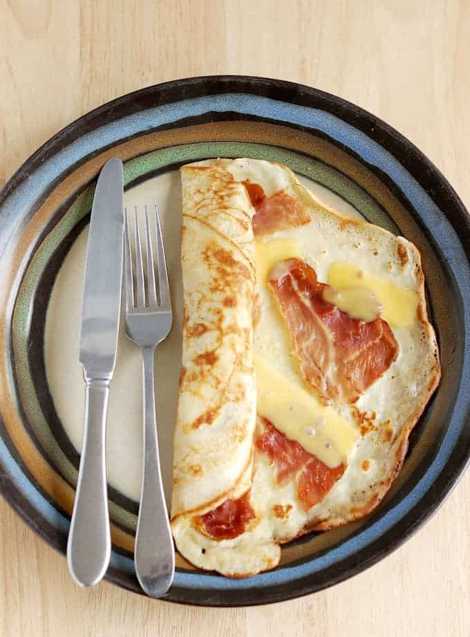 Savory Dutch Pancakes with speck and gouda.