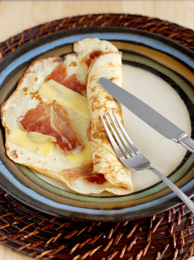 Savory Dutch Pancakes with speck and Gouda cheese.