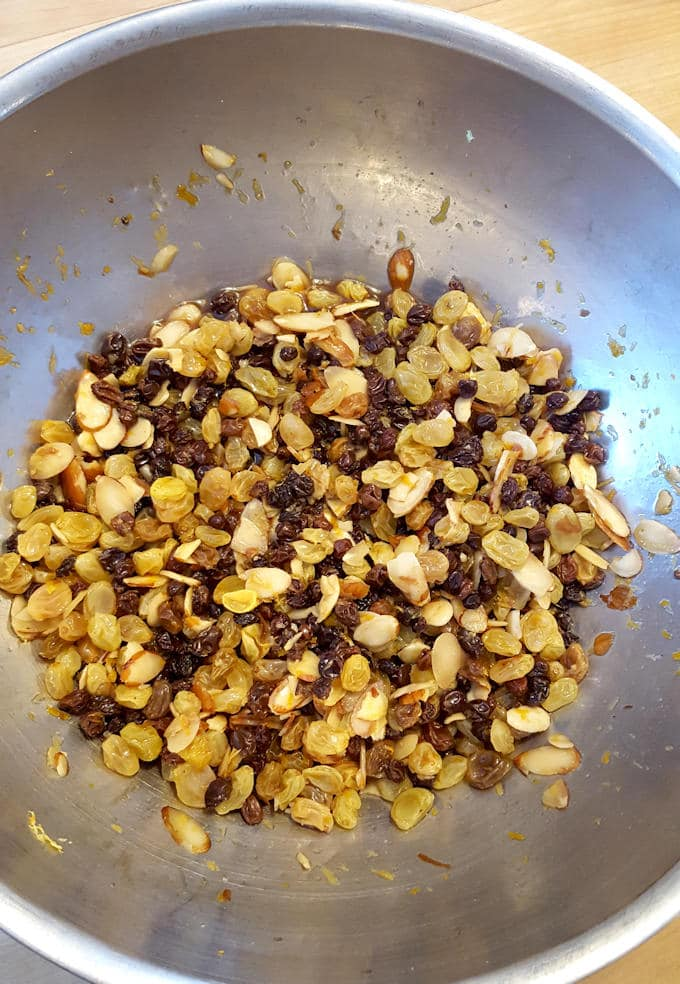 raisins and nuts in a bowl