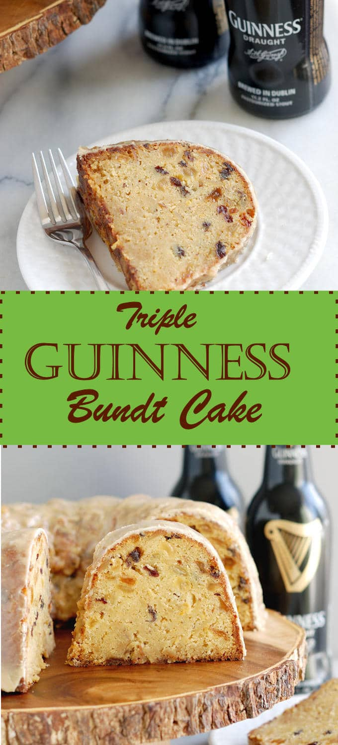 A rich cake with golden raisins, almonds and Guinness Stout added 3x. Easy, tasty and it keeps for weeks.