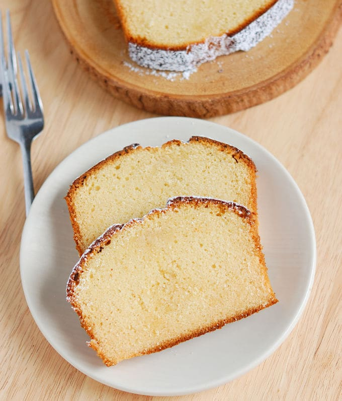 two slices of Honey pound cake on a plate