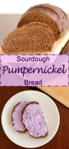 a pinterest image for Sourdough Pumpernickel Bread with text overlay