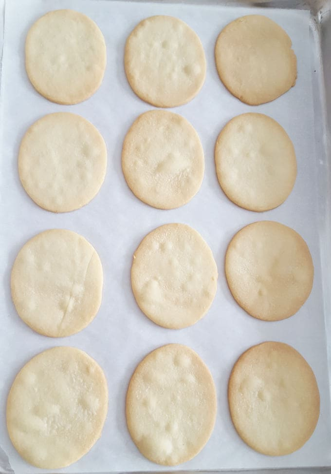 baked sugar cookies on a tray