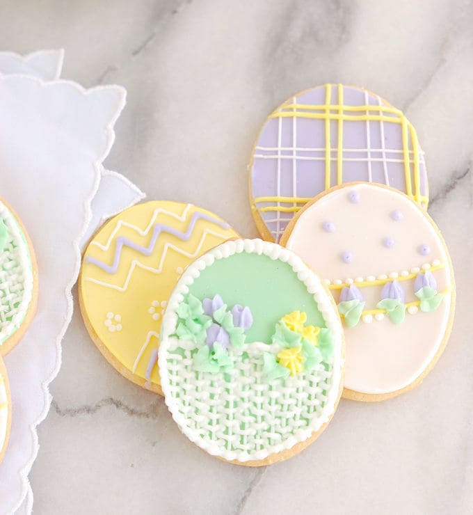 egg shaped decorated sugar cookies for easter