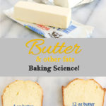 Tall image show slices of pound cake, a stick of butter, shortening and a cup of oil. Text overlay read, Butter and other fat. Baking Science!