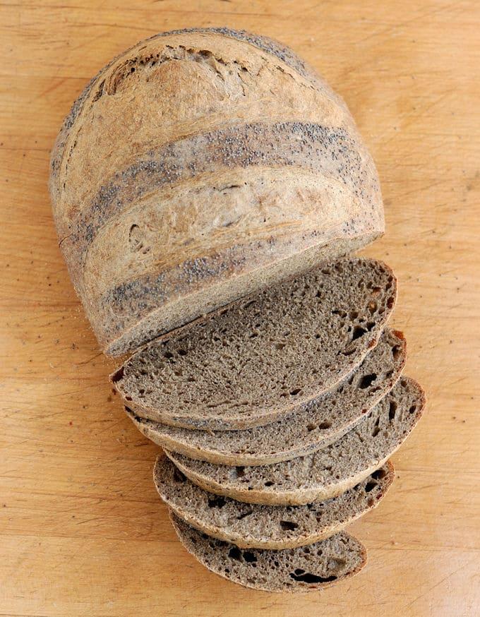 guinness buckwheat bread, sliced