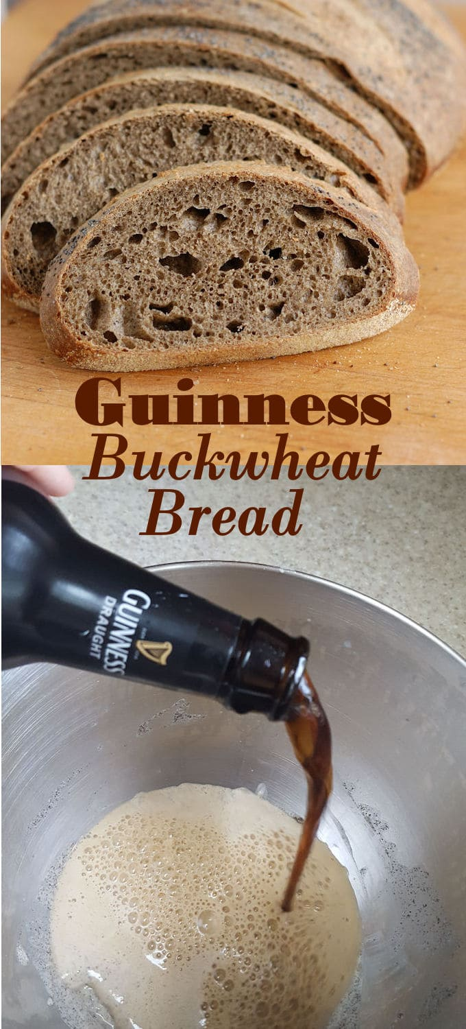 Guinness Buckwheat Bread is a delicious and hearty sandwich bread. Use an entire bottle of Guinness for great flavor. Can be made with or without sourdough starter. #Breadbakers