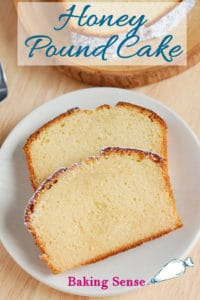 a pinterest image of honey pound cake with text overlay