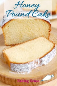 a pinterest image for honey pound cake with text overlay