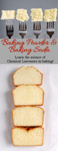 slices of cake with text overlay Baking Powder & Baking Soda learn the science of chemical leaveners in baking