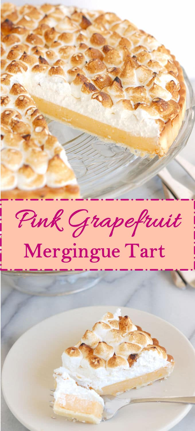 Pink Grapefruit Meringue Tart is a sophisticated take on a classic dessert. #SundaySupper