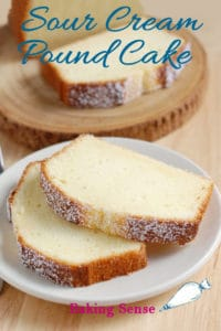 a pinterest image for sour cream pound cake with text overlay
