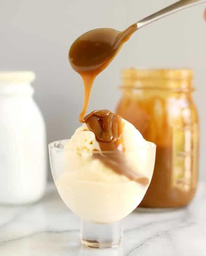 butterscotch sauce on ice cream