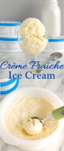 a pinterest image for creme fraiche ice cream with text overlay