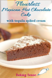 a slice of mexican hot chocolate cake with pinterest text overlay