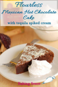 a pinterest image for flourless mexican hot chocolate cake with text overlay