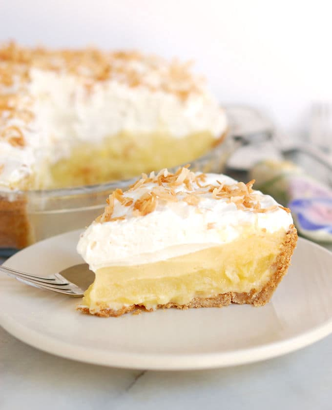 a slice of pina colada pie