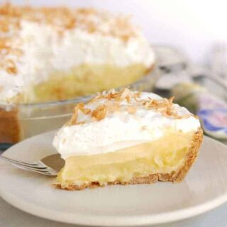 pina colada pie with toasted coconut and rum