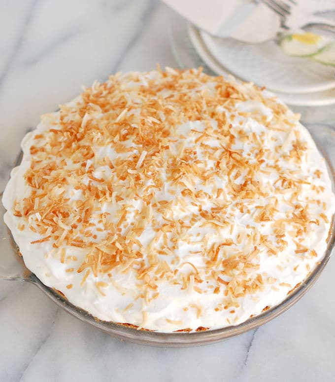 a Pina colada pie with coconut